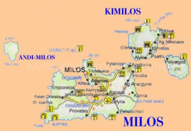 map of Milos, Cyclades, Greece
