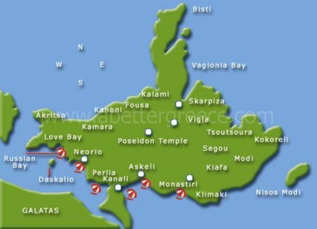 map of Poros island, Greece