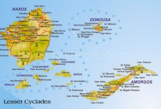 Iraklia map, small Cyclades Greece