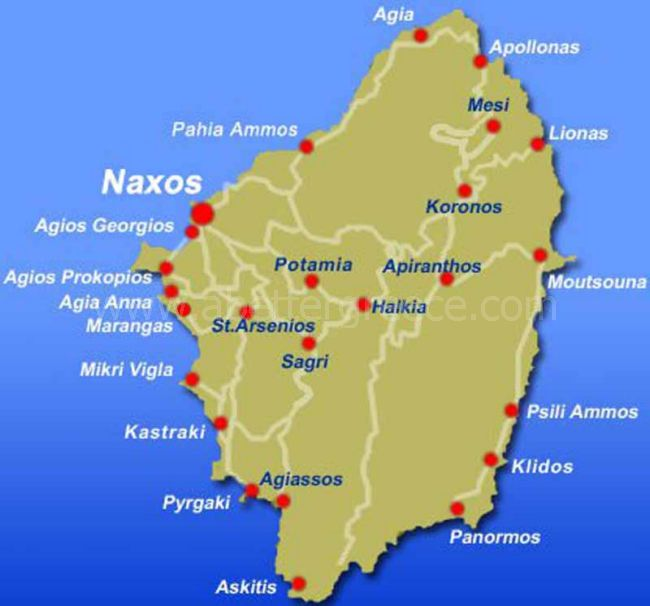 Naxos map Cyclades Greece