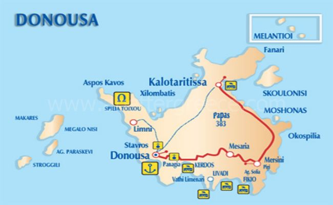 map of Donousa island Greece