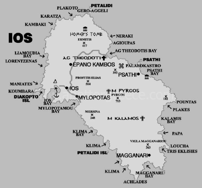map of Ios Greece