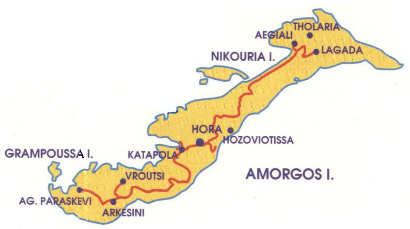 Amorgos map Greece