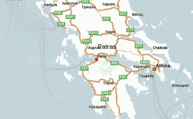 map of Patras, Greece