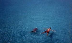 swimming on Kimolos in Greece