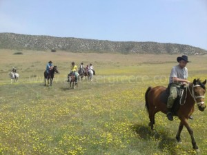 horse riding on Milos Cyclaes, Greece