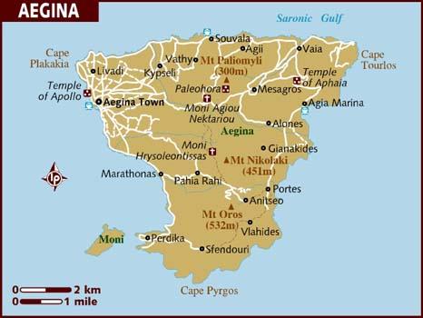 map of Aegina in Greece