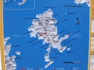 Schinnousa map, Cyclades, Greece