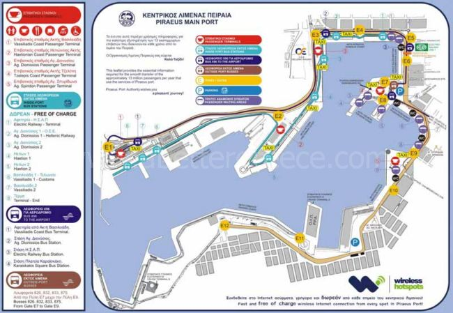 Athens bus map, Greece